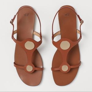 H&M Brown 100% Leather Gold detail sandals